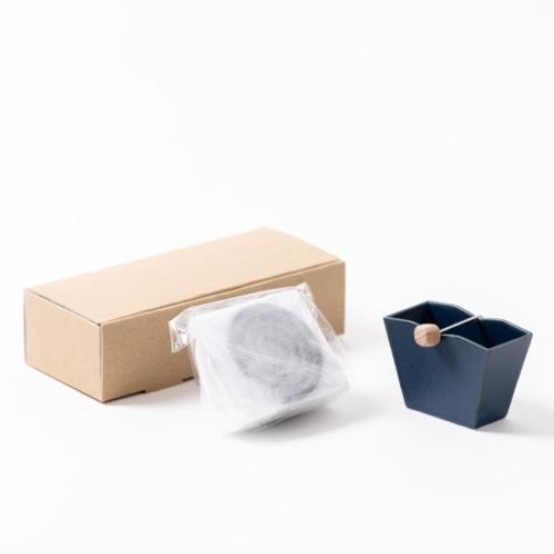 くすのき香10巻+吉田焼お香立て(紺)